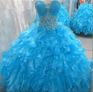 Sweetheart Organza Ball Gown Quinceanera Dresses 2020 Crystals Sweet 16 Dresses Vestido Debutante Gowns Plus Size