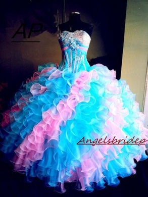 Green And Pink Quinceanera Dresses 15 Years Elegant Crystal Beading Bodice Full-Length Formal Ball Gown Plus Size