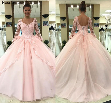 Light Pink Ball Gown Quinceanera Dresses 2020 Long Sleeves Lace Appliques Prom Party Gowns For Sweet 16 Vestido de 16 anos