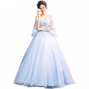 Walk Beside You Blue Sweet 16 Dresses Ball Gowns Quinceanera Dresses 3/4 Sleeves Floral Lace Applique Dress for Masquerade