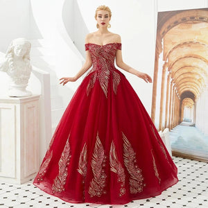 New Arrival Quinceanera Dresses Off The Shoulder Burgundy Lime Green Puffy Ball Gowns Appliques Vestido Quinceanera Debutante