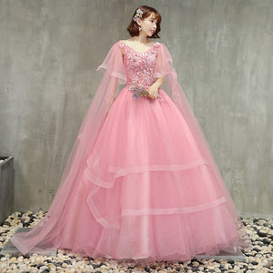 Pink Quinceanera Dresses V-neck Appliques Puffy Ball Gowns Tiered Skirt Vestidos De Gala Largos Sweet 16 Prom Gowns