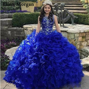 Royal Blue Elegant Quinceanera Dresses 2019 Custom Made Crystal Organza Princess Sweet 15 16 Prom Gowns for Pageant