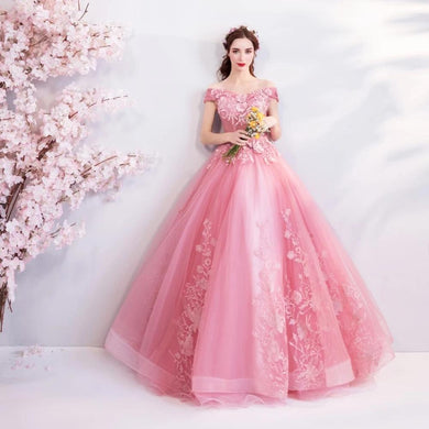 Off The Shoulder Puffy Ball Gown, Princess Quinceanera Dress, Pink Debutante Sweet 16