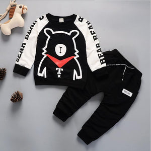 2PC Toddler Boys Clothing Sets Kids Polar bear Hoodies Pants Infant Tracksuit
