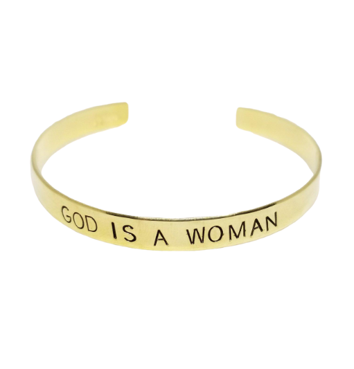 God Is A Woman Stamped Cuff Bracelet