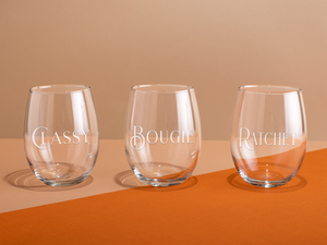 Classy, Bougie, Ratchet 17oz Stemless Wine Glass Set