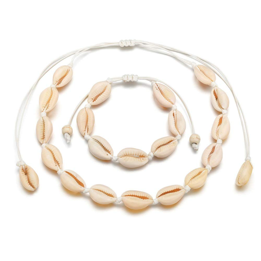 Shell Necklace for Women Natural Puku Cowrie Shell Choker and Bracelet Set Hawaiian Seashell Choker Summer Beach Jewelry