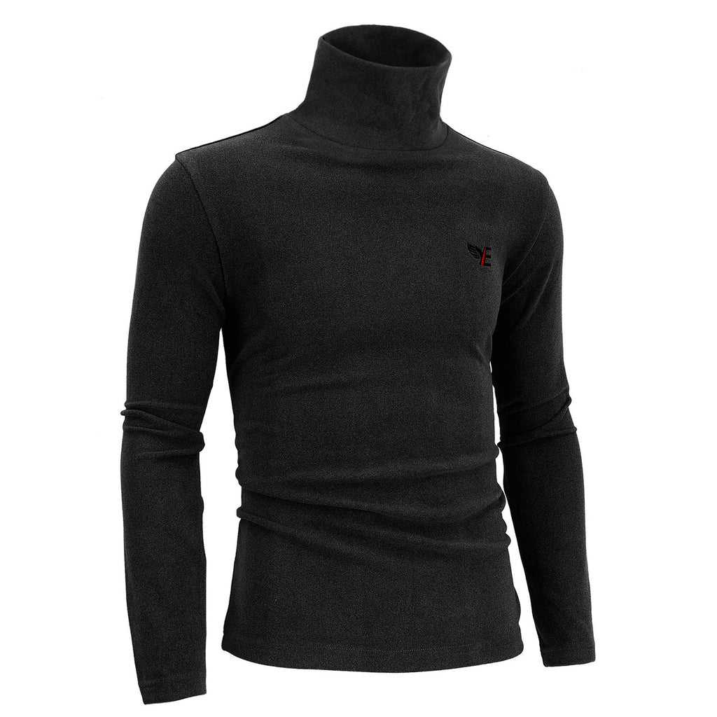 YERWSLON Men's Slim Fit Lightweight Sweatshirt,Soft Long Sleeve Casual Turtlenecks Pullover Sweaters, Black GLWY-L