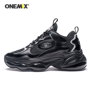 ONEMIX Running Shoes Black Height Increasing Men Sneakers Breathable Women Platform Shoes