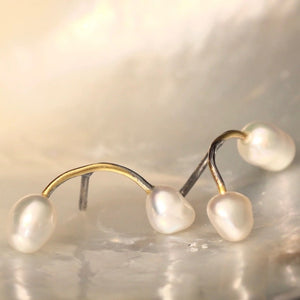 Seafire Earrings Silver Pearls