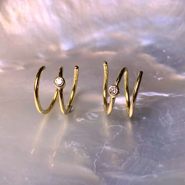 Spiral Earrings 0.02 ct. Champagne Diamonds