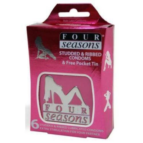 Four Seasons Studded and Ribbed Condoms (Tin 6 pack) (52mm) - Top Drawer Essentials