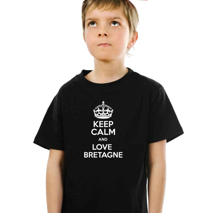T-shirt breton humoristique Keep Calm and Love Bretagne - Adultes/Enfants-T shirt breton humoristique Black Blanc Breizh-Maître Iodé-Maître Iodé