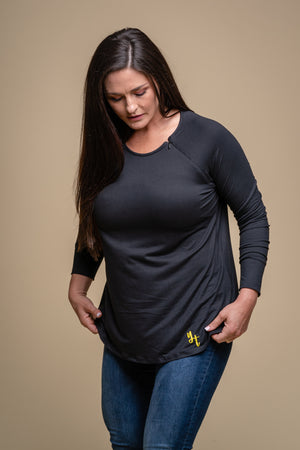 Black Port Access- Long Sleeve Zipped Shirt