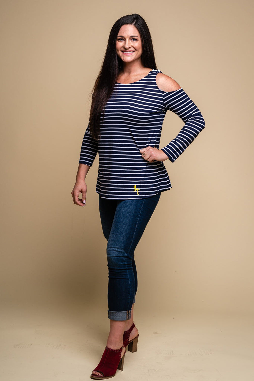 Blue Striped Port Long Sleeve Cold Shoulder