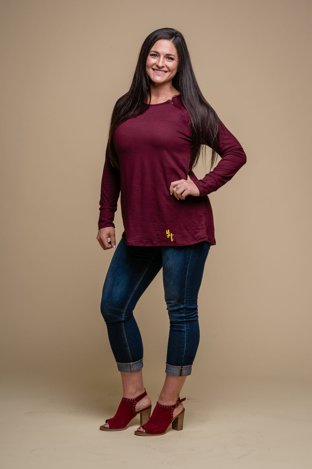 Dark Raisin Port Access- Long Sleeve Zipped Shirt