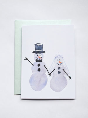 #MidnightDoodles Snow Bride and Groom Christmas Cards