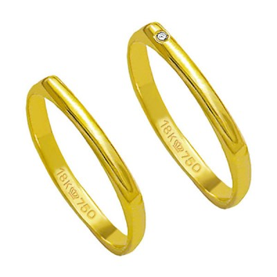 Alliance-Gold-18k-750-Width-2.30mm-Height-0.80mm-/-Alliance-18k-Gold-750-with-1-Brilliant-1.15-Points-Width-2.30mm-Height-0.80mm