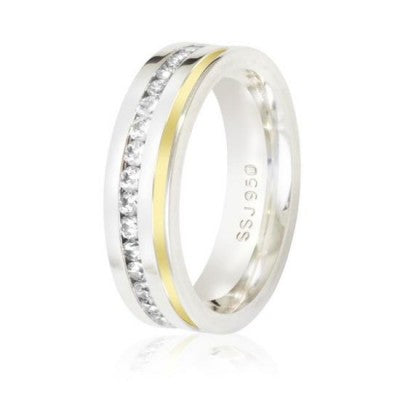 Silver-ring-925-Straight-6mm-and-studded-with-1-wire