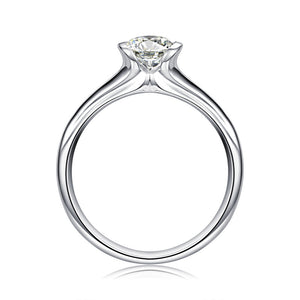 Treasure Jewelry® 18K White Gold (AU750) Women Wedding Ring 0.5 CT Certified I/SI Round Cut Solitaire Diamond Brand Jewelry Anniversary Rings