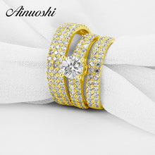 Treasure Jewelry® Real 10k Yellow Gold Couple Wedding Ring Set Men Women Female Bridal Band