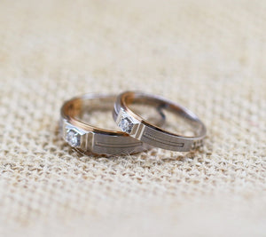 Treasure Jewelry® Men & Women Diamond 18k two tone Gold Engagement Wedding Ring