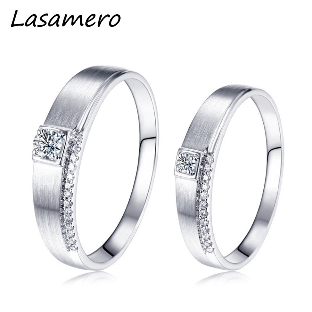 Treasure Jewelry® Solitaire Rings for Men and Women 18k White Gold Engagement Wedding Ring