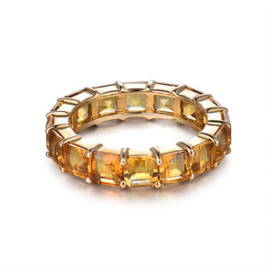 Treasure Jewelry® New Princess Cut 4x4mm 14k Yellow Gold Citrine Eternity rings Band Ring, Natural Citrine Jewelry SR141