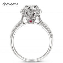 Treasure Jewelry® Luxury 100% Silver Ring Inlay Natural Crystal Ring Set 5.5mm 1.2ct CZ Diamant