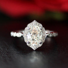 Treasure Jewelry® Vintage 1.00ct 7*5mm Oval Cut Moissanite Engagement Ring Solid 14K White Gold Fine Ring Jewelry For Her