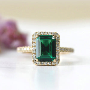 Treasure Jewelry® 14k Yellow Gold 2.7ct Carat Emerald Cut Engagement Wedding Ring for Women Green Moissanite Diamond Ring