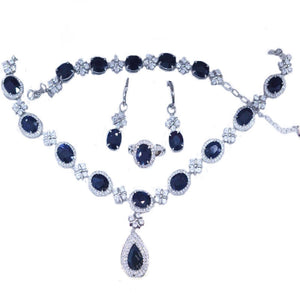 Treasure Jewelry® Trendy Jewelry_luxury Dark Blue Stone Wedding Jewelry Sets_S925 Solid Silver