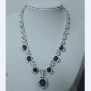 Treasure Jewelry® _Fashion Jewerly_Blue Stone Jewelry Sets Necklaces_S925 Solid Sliver Necklaces