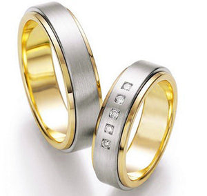 Treasure Jewelry® bicolor gold plating  western custom health titanium engagement wedding bands set