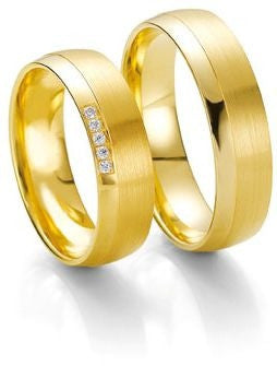 Treasure Jewelry® custom tailor yellow Gold Plating his and hers engagement wedding rings sets