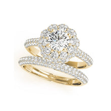Treasure Jewelry® Trendy 925 Sterling Silver Yellow Gold Color Engagement Rings Flower Bridal Ring Sets