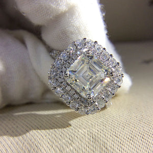 Treasure Jewelry® 14k White Gold 2.7ctw DF Asscher Cut Engagement Wed Lab Grown Moissanite Diamond