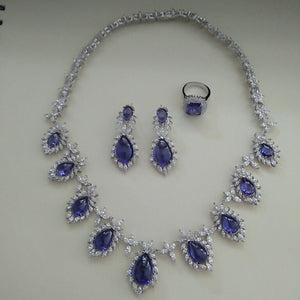 Treasure Jewelry® Trendy Jewelry_Luxury Blue Stone Wedding/party Jewelry Sets_S925 Solid Silver