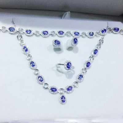 Treasure Jewelry®_Fashion Jewelry_Blue Stone Jewelry Sets_S925 Solid Silver Woman