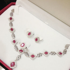 Treasure Jewelry® Fashion Jewelry_Luxury Red Stone Wedding Jewelry Sets_S925 Solid Silver Sets