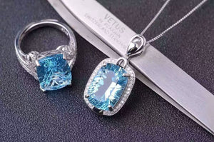 Treasure Jewelry® _Blue Stone Fashion Jewelry Set_Finger Rings_S925 Solid Sliver Blue Stone