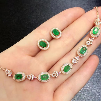Treasure Jewelry® Fashion Jewelry_Colombia Green Stone Elegant Jewelry Set S925 Solid Silver