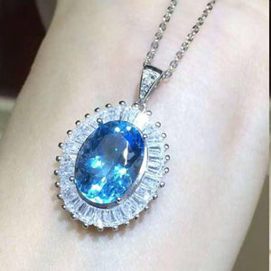 Treasure Jewelry® Blue Stone Simple Elegant Pendant Necklace Sets_Real Blue_Quality Guaranteed