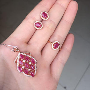 Treasure Jewelry® Fashion Jewelry_Red Stone Woman Jewelry Set _Rose Gold Color Fashion Jewelry