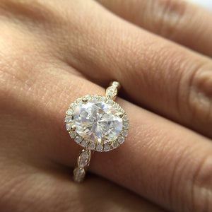 Treasure Jewelry® 14K Yellow Gold halo Moissanite Ring 7x9mm 2.0ct Carat Oval Cut Engagement Ring