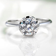 Treasure Jewelry® Real 14K Solid White Gold Moissanite Wedding Ring 1.0 Carat Round Cut VVS D Certified Factory Direct