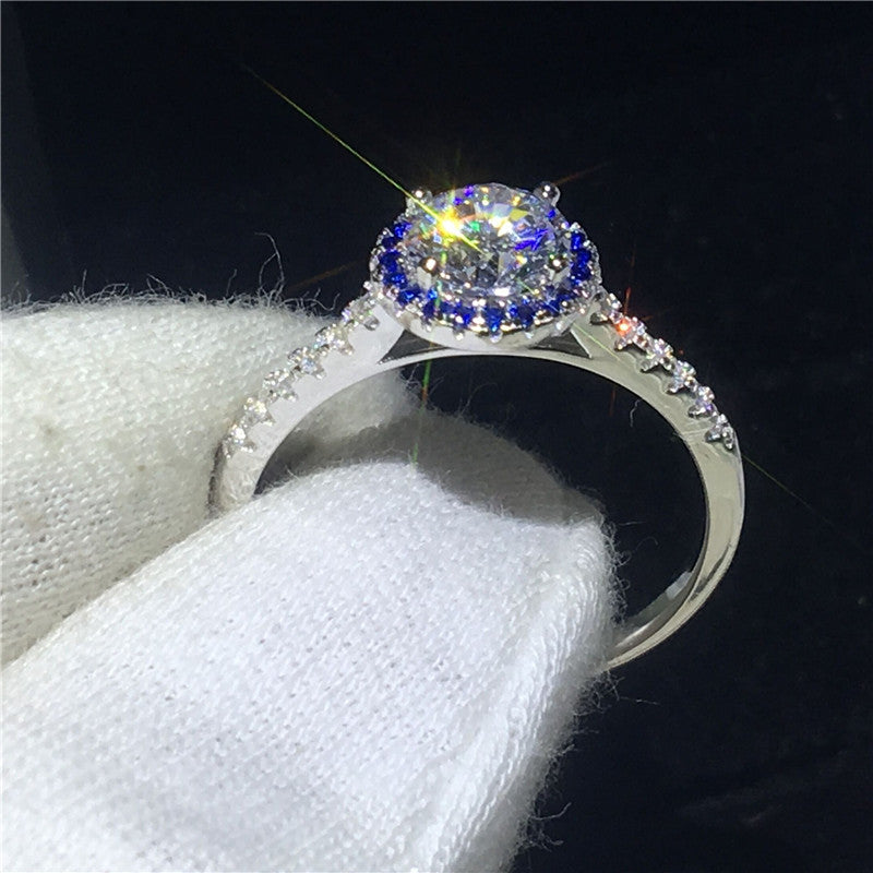Treasure Jewelry® Classic Female 100% Solid 925 Sterling silver Jewelry Blue AA Engagement ring