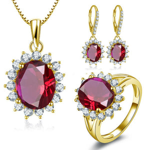 Treasure Jewelry® 10K Solid Yellow Gold Jewelry Sets Oval Cut Red Ring Drop Earrings Wedding