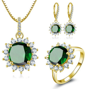 Treasure Jewelry® 10K Yellow Gold Round Cut Dark Green Ring Drop Earrings Luxury Wedding